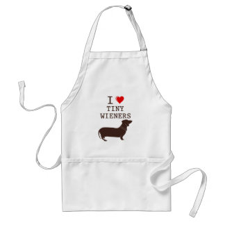 Funny I Love Tiny Wiener Dachshund Adult Apron
