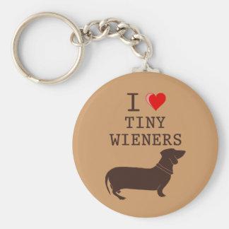 Funny I Love Tiny Wiener Dachshund Basic Round Button Keychain