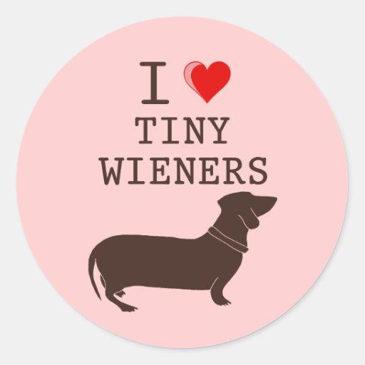 Funny I Love Tiny Wiener Dachshund Classic Round Sticker