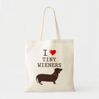 Funny I Love Tiny Wiener Dachshund Tote Bag