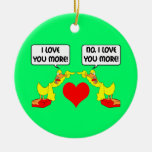 funny I love you Double-Sided Ceramic Round Christmas Ornament