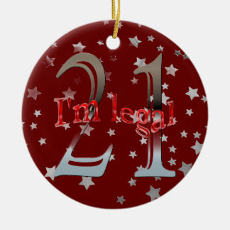 Funny I m Legal 21st Birthday Stars Red Christmas Christmas Tree Ornament