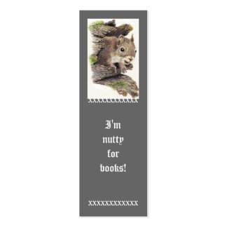 Funny I m Nutty for Books Cute Squirrel Bookmark Business Card