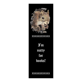 Funny I m Nutty for Books Cute Squirrel Bookmark Business Card Templates