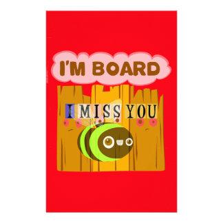 Funny I Miss You I am Bored Stationery