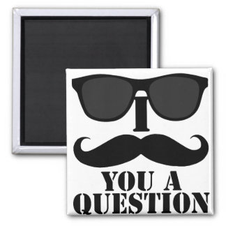 Funny I Moustache You A Question Black Sunglasses 2 Inch Square Magnet