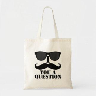 Funny I Moustache You A Question Black Sunglasses Budget Tote Bag