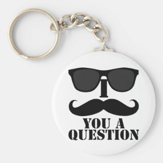 Funny I Moustache You A Question Black Sunglasses Basic Round Button Keychain