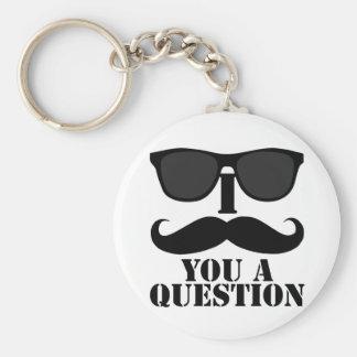 Funny I Moustache You A Question Black Sunglasses Keychain