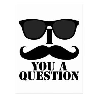 Funny I Moustache You A Question Black Sunglasses Post Cards