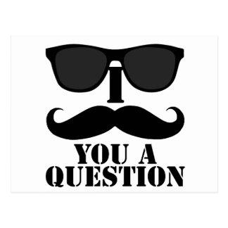 Funny I Moustache You A Question Black Sunglasses Postcard