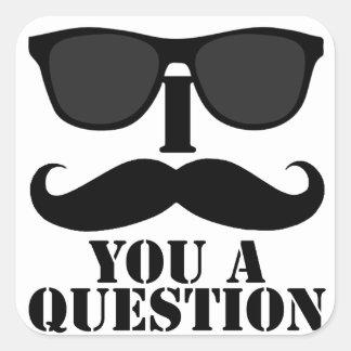 Funny I Moustache You A Question Black Sunglasses Square Sticker