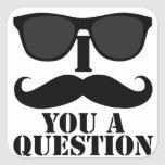 Funny I Moustache You A Question Black Sunglasses Stickers