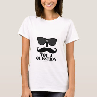 Funny I Mustache You A Question Black Sunglasses T-Shirt