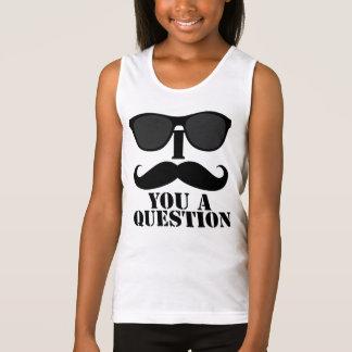Funny I Mustache You A Question Black Sunglasses Tank Top