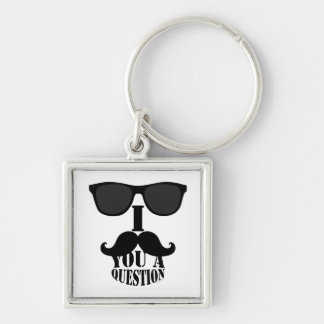 Funny I Mustache You A Question with Sunglasses Keychain