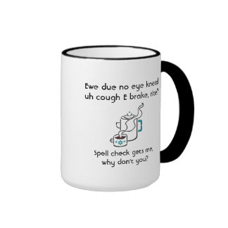 Funny I Need a Coffee Break Spell Check With Name Ringer Mug