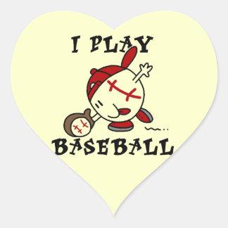 Funny I Play Baseball Tshirts and Gifts Heart Sticker