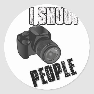 Funny I shoot people photographer Classic Round Sticker