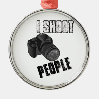 Funny I shoot people photographer Metal Ornament