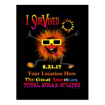 Beach Themed Funny I Survived The Great American Solar Eclipse Postcard