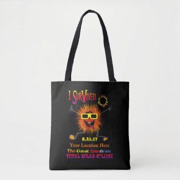 Beach Themed Funny I Survived The Great American Solar Eclipse Tote Bag