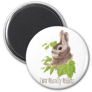 Funny I wuv wascally wabbits, Rabbit, Bunny 2 Inch Round Magnet