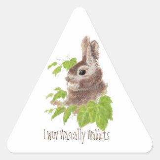 Funny I wuv wascally wabbits, Rabbit, Bunny Triangle Sticker