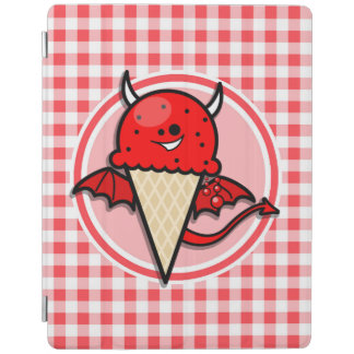 Funny Ice Cream Devil; Red and White Gingham iPad Cover