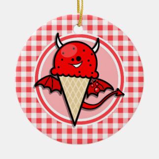 Funny Ice Cream Devil; Red and White Gingham Christmas Tree Ornament