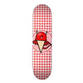 Funny Ice Cream Devil; Red and White Gingham Skate Board Deck