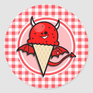 Funny Ice Cream Devil Red and White Gingham Round Sticker