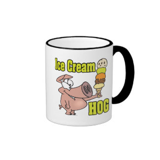 funny ice cream hog piggy pig cartoon ringer coffee mug