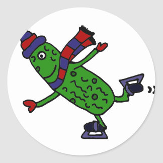 Funny Ice Skating Pickle Design Classic Round Sticker