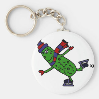 Funny Ice Skating Pickle Design Keychain