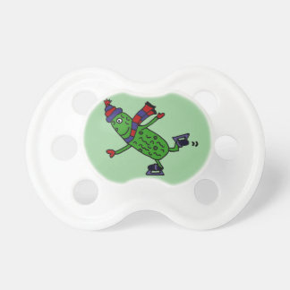 Funny Ice Skating Pickle Design Pacifier