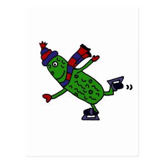 Funny Ice Skating Pickle Design Post Cards