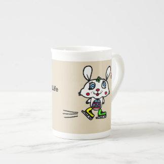 Funny Ice Skating Rabbit Tea Cup