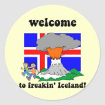 Funny Iceland volcano Classic Round Sticker