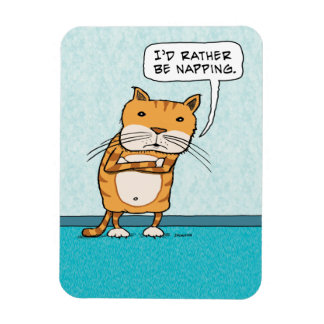 Funny I'd Rather Be Napping Cat Rectangular Photo Magnet