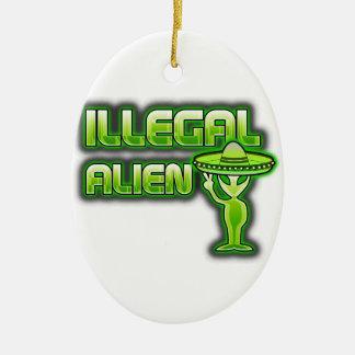 Funny Illegal Alien Ceramic Ornament