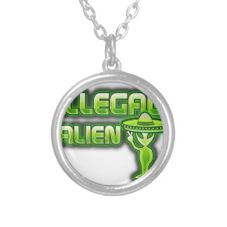Funny Illegal Alien Silver Plated Necklace