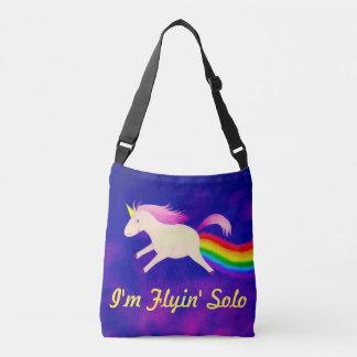Funny I'm Flyin' Solo Unicorn Farting Rainbow Crossbody Bag