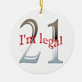 Funny I'm Legal 21st Birthday Christmas Ornament