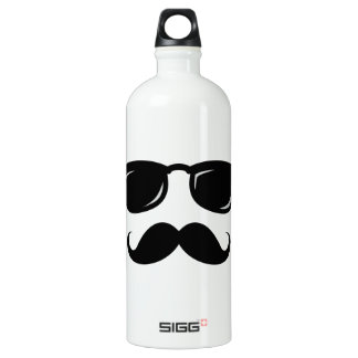 Funny incognito smiley mustache trendy hipster aluminum water bottle