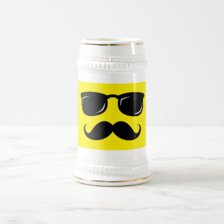 Funny incognito smiley mustache trendy hipster beer stein