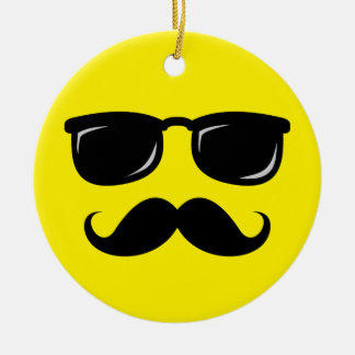 Funny incognito smiley mustache trendy hipster ceramic ornament