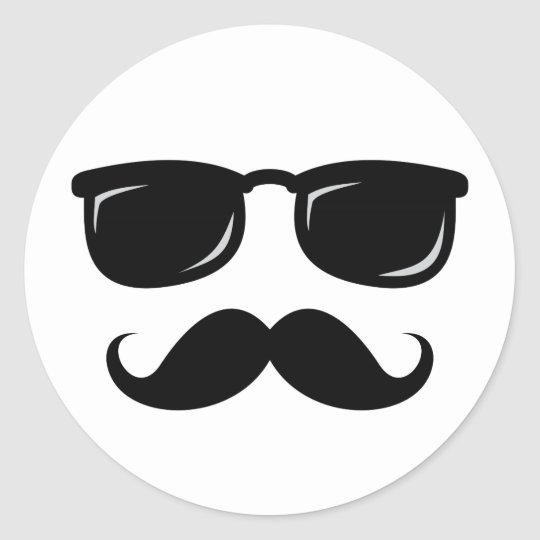Funny incognito smiley mustache trendy hipster classic round sticker