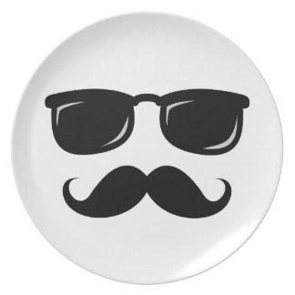 Funny incognito smiley mustache trendy hipster dinner plate
