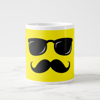 Funny incognito smiley mustache trendy hipster giant coffee mug